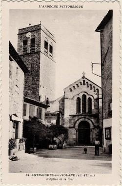 Antraigues-sur-Volane (alt. 471 m. Ardèche) : L'Eglise et la tour