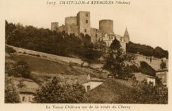 Châtillon (Rhône) : Le vieux château vu de la route de Chessy