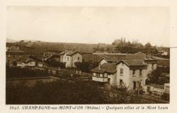 Champagne-au-Mont-d'Or (Rhône) : Quelques villas et le Mont Louis