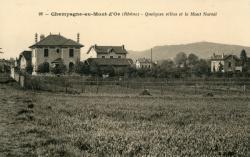 Champagne-au-Mont-d'Or (Rhône) : Quelques villas et le Mont Narcel