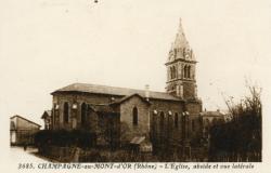 Champagne-au-Mont-d'Or (Rhône) : L'église, abside et vue latérale
