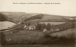 Route et château d'Avenas (Rhône) : Source de la Grosne