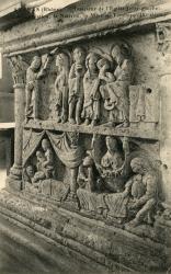 Avenas (Rhône) : Intérieur de l'église (coté gauche). L'annonciation, la Nativité, la Mise au Tombeaux (IXe siècle)
