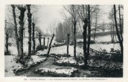 """Cours-la-Ville (Rhône) : Au Valissant un jour d'hiver. La Rivière """"la Trambouze"""""""
