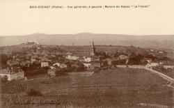 """Bois-d'Oingt (Rhône) : Vue générale, à gauche : Maison de Repos """"Le Travail"""""""