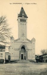 Chaponost (Rhône) : L'église et la place