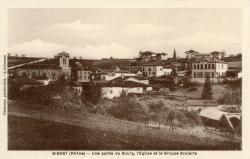 Bibost (Rhône) : Une partie du bourg, l'église et le groupe scolaire