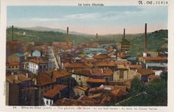 Rive-de-Gier (Loire) : Vue générale, côté Ouest - La rue Sadi-Carnot - Au fond, les Usines Valette