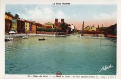 Rive-de-Gier (Loire) : Le Bassin du Canal - Au fond, l'Eglise St-Jean