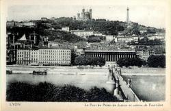 Lyon : Le Pont du Palais de Justice et coteau de Fourvière