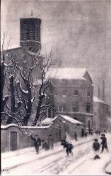LYON : ÉGLISE de L'IMMACULÉE-CONCEPTION ; L'Église sur la rue Pierre-Corneille, en 1889 ; (Tableau de Seignol)