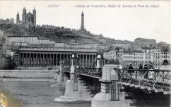 Lyon : Côteau de Fourvière ; Palais de Justice et Pont du Palais