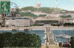 Lyon : Le Pont du Palais de Justice et le Coteau de Fourvière