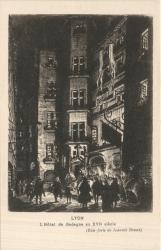 """Lyon : L'Hôtel de Gadagne au XVIe siècle ; (Eau-forte de Joannès Drevet)"""""""