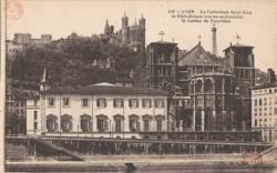 Lyon : La Cathédrale Saint-Jean ; la bibliothèque (ancien archevêché) ; le Coteau de Fourvière