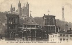 Lyon : Les Tours de la Cathédrale St-Jean ; Fourvière et la Tour Métallique