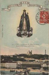 Lyon : Vue générale du Palais de Justice ; St-Jean et le Coteau de Fourvière