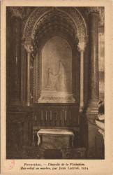 Fourvière : Chapelle de la Visitation ; Bas-relief en marbre par Jean Larrivé ; 1914