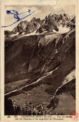 Chamonix-Mont-Blanc : Vue de Merlet sur les Bossons et les Aiguilles de Chamonix