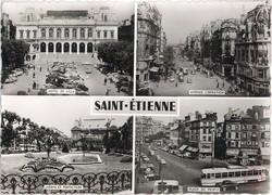 Saint-Etienne (Loire). - Hôtel de Ville, avenue de la Libération, Jardin et Préfecture, Place du Peuple
