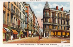 Saint-Étienne (Loire) : Place Dorian et Rue de la République