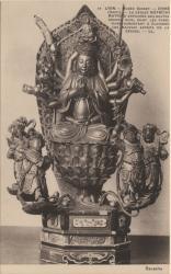 Lyon : Musée Guimet ; Chine (Amoy) ; La déesse Mâtrichi ; Matrika entourée des quatre grands rois, dont les fonctions consistent à éloigner les mauvais esprits de la déesse.