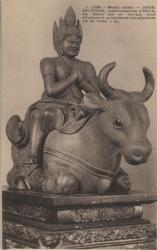 Lyon : Musée Guimet ; Japon ; Daïta-Itokou, transformation d'Amita, qui monte sur un taureau pour s'élancer à la poursuite des méchants (vu de face)