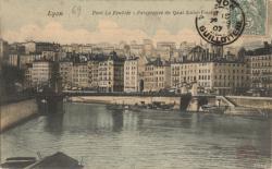 Lyon : Pont La Feuillée ; Perspective du Quai Saint-Vincent