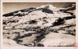 Magève : Sports d'hiver ; Vue générale et le Mt. BLanc