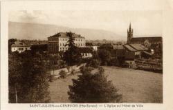 St-Julien-en-Genevois (Hte-Savoie) : L'Eglise et l'Hôtel de Ville