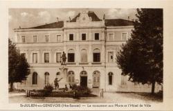 St-Julien-en-Genevois (Hte-Savoie) : Le monument aux Moris et l'Hôtel de Ville