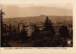 St-Julien-en-Genevois (Hte-Savoie) : L'Hôpital Régional et les coteaux de la Suisse