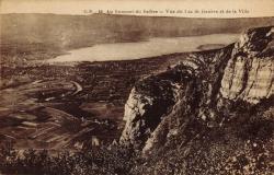 Au sommet du Salève. Vue du lac de Genève et de la Ville
