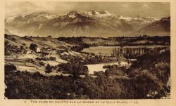 Vue prise du Salève sur le Rhône et le Mont-Blanc.