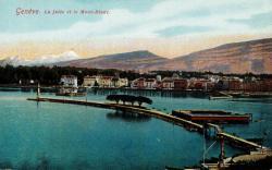 Genève. La jetée et le Mont-Blanc.