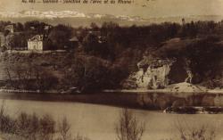 Genève. Jonction de L'Arve et du Rhône