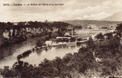 Genève. Le Rhône et l'Arve à la Jonction