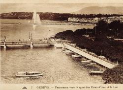 Genève - Panorama vers  le quai des Eaux-Vives et le Lac