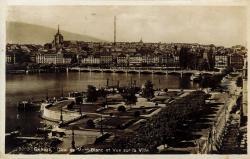 Genève - Quai du Mont-Blanc et vue sur la ville