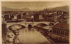 Genève - Vue générale depuis St Jean et le Mont-Blanc