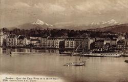 Genève - Quai des Eaux-Vives et le Mont-Blanc