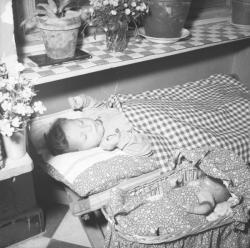 [Un enfant endormi, une poupée dort à ses côtés]