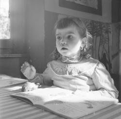 [Une petite fille, un livre ouvert posé sur la table et un oiseau mort à côté]