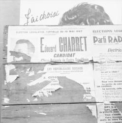 [Superposition d'affiches : J'ai choisi... Edouard Charret, candidat...]