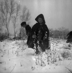 [Des enfants jouent dans la neige]
