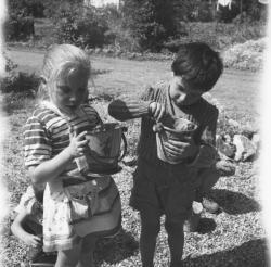 [Des enfants ramassent des escargots]