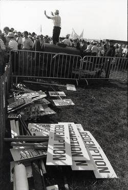 Lyon, Eurexpo. Rassemblement pendant la visite du Pape Jean-Paul II, octobre 1986
