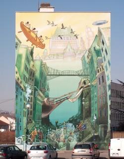 """Mur peint """"La Cite Ideale Quebecoise"""""""