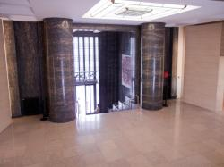 L'Hôtel de ville de Villeurbanne : l'escalier d'accès au grand hall par l'avenue Aristide-Briand