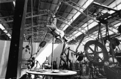"""[2e Biennale d'art contemporain de Lyon (1993). """"Enfer, un petit début"""", de Jean Tinguely]"""